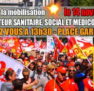 > TOUS DANS L'ACTION JEUDI 14 NOVEMBRE – MOBILISATION DU SECTEUR SANITAIRE, SOCIAL ET MEDICO SOCIAL